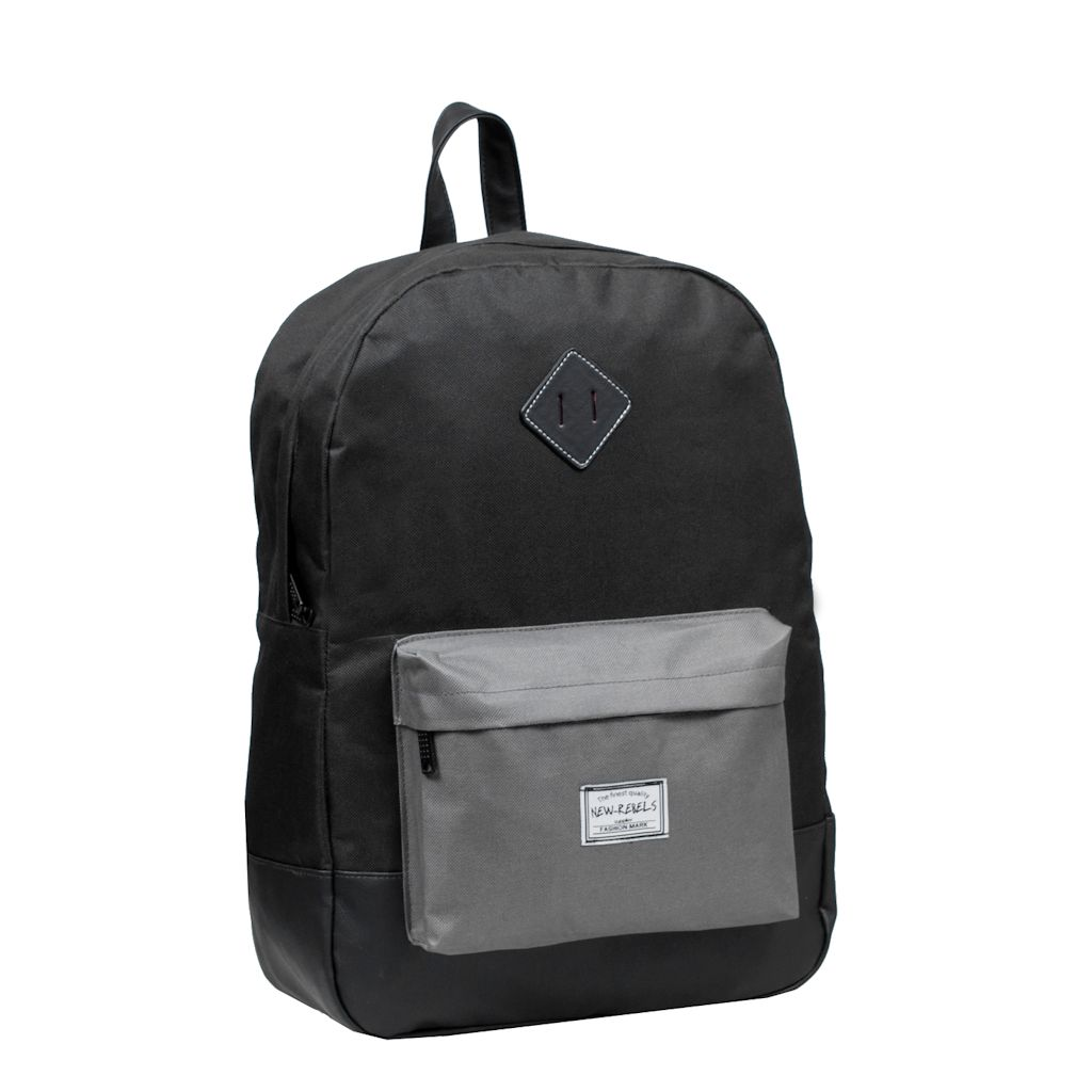 New Rebels rugzak Scandia 01 Bower zwart grijs schooltas laptoprugzak